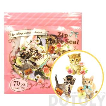 Realistic Kitty Cat Themed Photo Sticker Flake Seals From Japan   70 Pieces