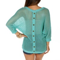Pre-Order: Teal Open Knit Button Back Top