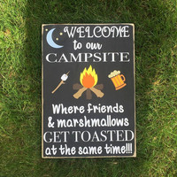 Camping Sign Welcome to Our Campsite Wedding Gift, Shower Gift, Good Friends, Wooden Sign, Handmade in the USA, Simply Fontastic]