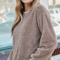 Solid Faux Fur Long-Sleeve Crew Neck Sweater Taupe  ONLY 1 S LEFT
