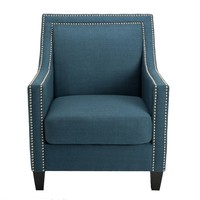 HomePop Edwin Blue Arm Chair | Overstock.com Shopping - The Best Deals on Living Room Chairs