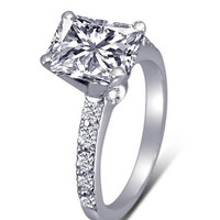 Radiant cut diamond 2.01 carats wedding anniversary ring white gold 14K jewelry