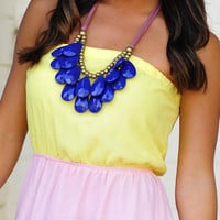RESTOCK Teardrop Bib Necklace: Navy Blue | Hope's