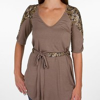 BKE Boutique Ruched Sleeve Tunic
