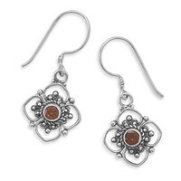 Round Faceted Garnet Cut Flower Design Earrings on French Wire