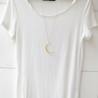 gold moon necklace,moon necklace,crescent moon necklace,Silver hollow star galactic cosmic moon necklace,galaxy necklace,long necklace