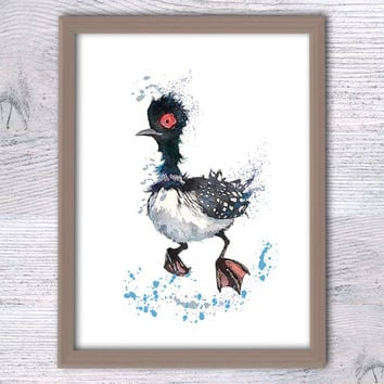 Becky the Loon, Finding Dory, Finding Nemo, Kids room, Baby gift, Nemo wall art, Watercolor poster, Nursery room, Baby Duck, Disney, V101