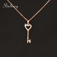 SINLEERY Sweet Micro Pave Crystal Heart Key Necklace &Pendants For Women Brand Jewelry Rose Gold/Silver Color XL065 SSC