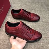 Ferragamo  Men Fashion Boots fashionable Casual leather Breathable Sneakers Running Shoes