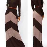 W1 USA CHEVRON COLOR BLOCKED LONG SLEEVE EMPIRE WAISTED JERSEY MAXI DRESS S M L