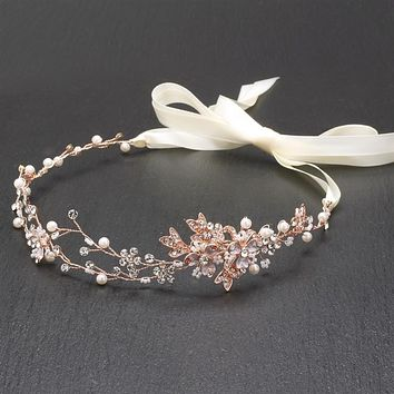 SALE  Handmade Couture Bridal Hair Headband with Hand Painted 14K Rose Gold Vines & Freshwater Pearls