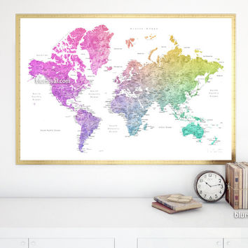 """World map with cities, print in colorful gradient watercolor style, 36x24"""""""