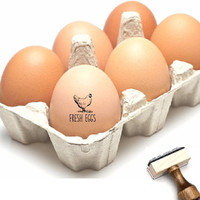 Fresh Eggs Stamp - Chicken Egg Stamp Small - Farm Egg Label Stamp - Custom Egg Packaging - Chicken Coop Stamp -Egg Carton Label Rubber Stamp