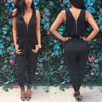 Summer Elegant Womens Rompers Jumpsuit Casual Solid Bodysuit Sleeveless Crew Neck Long Playsuits Plus Size