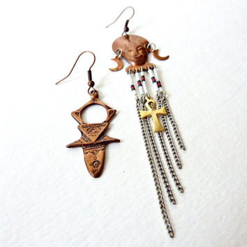 Asymmetrical Statement Earrings. Chevron Beaded African Mask & Ankh