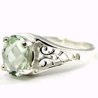 Christmas Sale: 30% Off, SR005, Green Amethyst, 925 Sterling Silver Ring