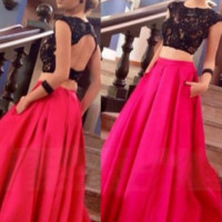 Cap Sleeve Prom Dresses,Two Piece Prom Dresses,Long Evening Dress