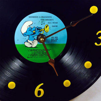 "Vinyl Record Clock, Wall Clock, Smurfs Record, Recycled Music Record, 12"" Record, Battery & Wall Hanger included, Item #14"
