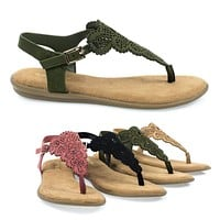 Tundra54S By Bamboo, Women's Flat Thong Sandal w Ankle Strap & Laser Cutout Floral Vamp