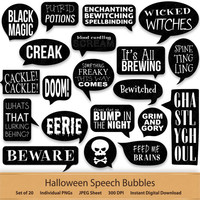 Digital Speech Bubbles Black and White Halloween Clipart Stickers Skull Clip Art Word Art Speech Callouts Shout out Label Tag Trick or Treat