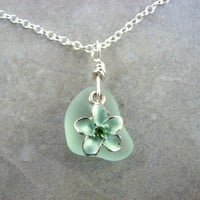 Sterling Silver Sea Glass Necklace with Flower in Seafoam Green