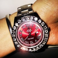 Rolex Fashion New Women Men Diamond Red Dial Watch Stainless Steel Wristwatch