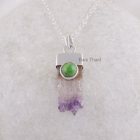 Amethyst Cluster Slice Druzy, Green Turquoise Gemstone Necklace Pendant 925 Sterling Silver Jewelry #1769