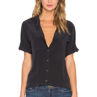 Equipment Super Vintage Wash Short Sleeve Slim Signature Top in True Black