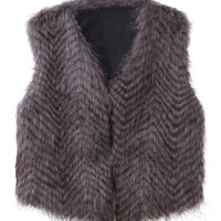 Variegated Peacock Collarless Cropped Faux Fur Waistcoat
