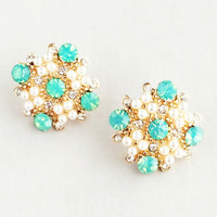 Mint & Pearls Stud Earrings