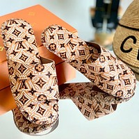 Onewel Lv Louis Vuitton slippers Print Shoes Letters Sandals Khaki Apricot Yellow