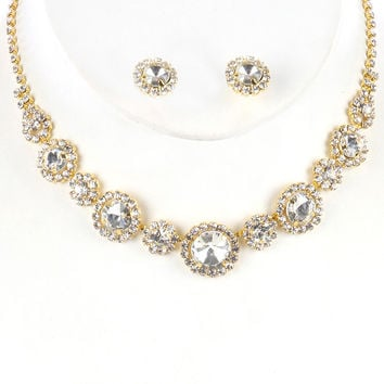 """12"""" gold clear crystal collar choker bib necklace bridal prom earrings"""