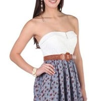 Strapless Floral Lace Casual Dress with Printed Chambray Skirt