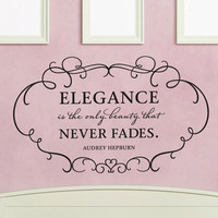 """Wall Vinyl Quote - """"Elegance is the only beauty that never fades"""" - Audrey Hepburn (36""""x 22"""")"""