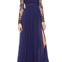 Blue V-Neck Long Sleeve Lace Pleated Chiffon Maxi Dress with Slit