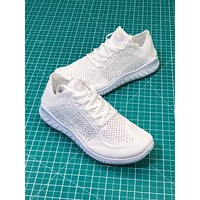 Nike Free RN Flyknit 5.0 Triple White Sport Running Shoes