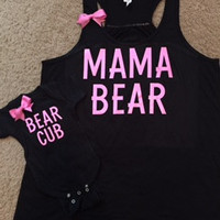 Mama Bear - Bear Cub - Mommy and Me Set - Ruffles with Love - RWL Kids