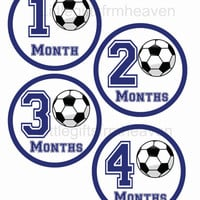 Soccer monthly stickers- sports month sticker, baby stickers, monthly stickers, sports monthly, newborn photo prop, soccer baby shower