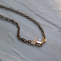 Mixed Metal Floating Crystal Pendant Choker Necklace