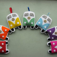 VW Campervan Ornaments / Toys  Rainbow by GracesFavours on Etsy