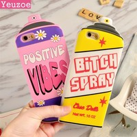 Yeuzoe New Postive Vibes Bottle Repellent Bitch Spray 3D Silicone Case For iphone 6 case cover Protective for iphone 6s case