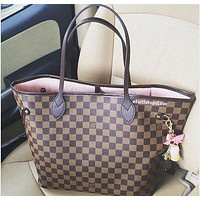 LV tide brand high quality female classic old flower checkerboard shopping bag two-piece Coffee check