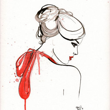 Original watercolor painting The Lady with the Red Dress