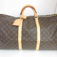 Louis Vuitton Monogram Keepall 60 Tote Bag Handbag Brown 0171