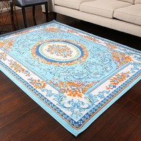 0842 Blue Colorful Aubusson Traditional Area Rugs