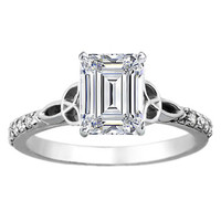 Engagement Ring - Emerald Cut Diamond Celtic Knot Engagement Ring with Diamond Accents in 14K White Gold - ES643EC