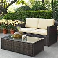 2-Piece Outdoor Patio Furniture Set with Loveseat and Glass Top Table
