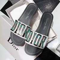 Dior CD Casual Ladies Shoes Beach Sandals Metal Letter Logo Flat Slippers-1