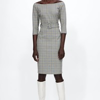 BELTED CHECKERED DRESS DETAILS