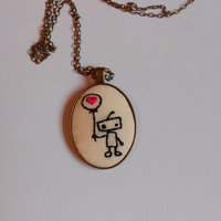 Hart Necklace, Minimalist Necklace, Pendant on Chain, Unique Jewelry, Hand Embroidered Pendant, Robot Art, Robot Necklace, Geek Jewelry